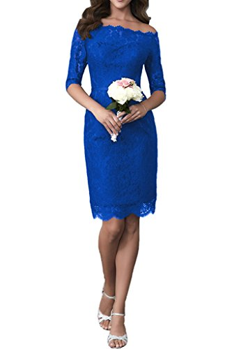 Victory Bridal 2017 Neu Dunkel Blau Spitze Hochzeitsfeien Brautjungfernkleider Partykleider Promkleider langarm Etui Hell Royal Blau
