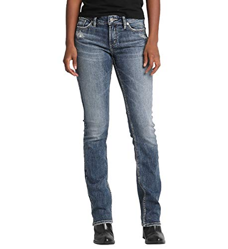 Silver Jeans Co. Damen Elyse Relaxed Fit Mid Rise Slim Bootcut Jeans, Power Stretch Medium Indigo, 26W x 31L Mid-rise Boot