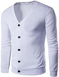 LemonGirl Cómodo jersey de manga larga con cuello en V y manga larga para hombre uyx4uDn