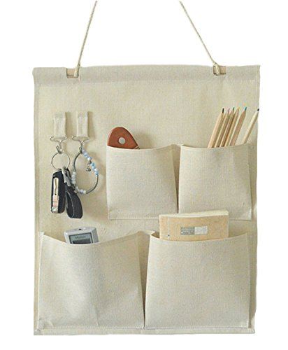 caleqi Leinen/Baumwolle Fabric Wall Tür Schrank zum Aufhängen Storage Bag Case 4Taschen mit Haken