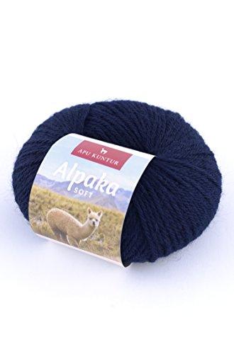 APU KUNTUR 100% Alpaka Wolle | Strick-Häkel-Garn weich, warm und kratzfrei | AKTIONSPREIS | 100m, Nadel 4,5 | wunderschöne Farben zum angenehmen stricken und häkeln | dunkel-blau -