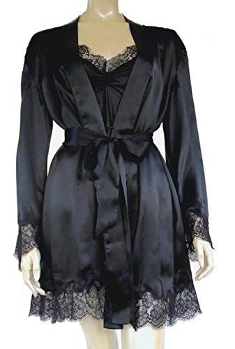 Seiden Morgenmantel Seiden Kimono Bademantel Seiden Schlafanzug Seide Pyjama Seiden Nachtwäsche für Damen aus 100% Seide Schwarz