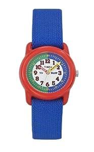 Timex - T890634E - Montre enfant apprentissage - Boittier en résine et bracelet en tissu extensible bleu
