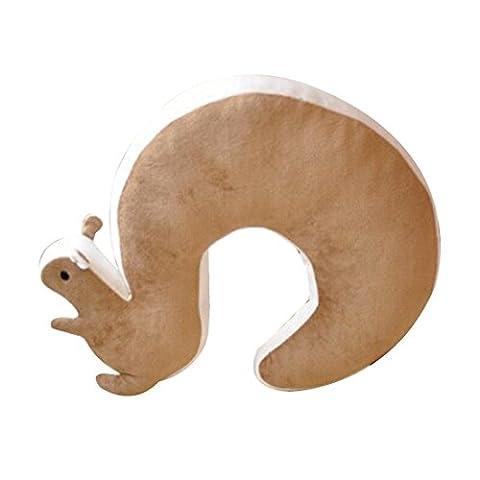 Squirrel Novelty Nap Oreiller 1Pcs animaux Coton Peluche U Shape Neck Pillow Voyage-Brown