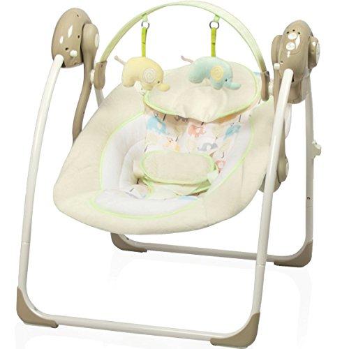 Babyschaukel (vollautomatisch 230V) mit 8 Melodien und 5 Schaukelgeschwindigkeiten (ELEFANT)