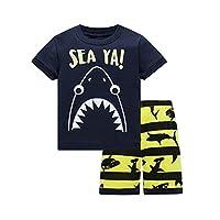 HIKIDS Boys Short Pyjamas Set Kids Shark Pjs Little Boys Summer Sleepwear 5-6 Years Navy Blue