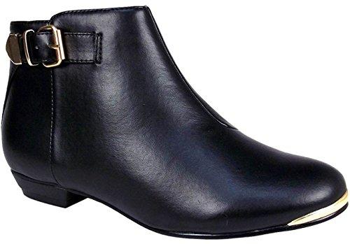 Mesdames Plat Biker Talon Tirez sur sangle boucle femmes en métal Garniture cheville Chaussures Bottes Noir - PU noir