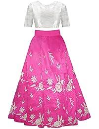 Sky Global Girl'S Banglori Silk With Embroidery Unstitched Salwar Suit(SKY_LEHENGA-8106)