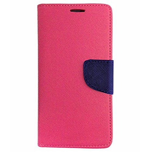 Avzax Stylish Luxury Magnetic Lock Diary Wallet Style Flip Cover Case for Panasonic P81 - Pink