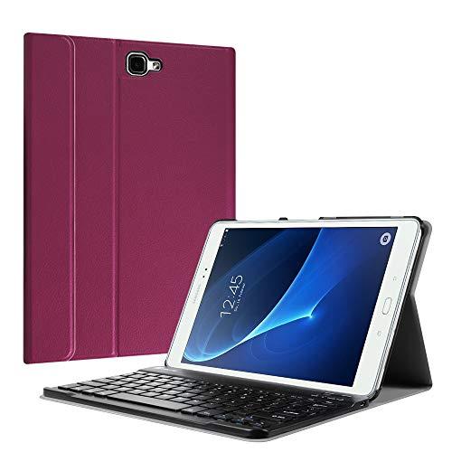 Fintie Bluetooth Tastatur Hülle für Samsung Galaxy Tab A 10,1 Zoll T580N / T585N Tablet - Ultradünn leicht Schutzhülle mit magnetisch Abnehmbarer Drahtloser Deutscher Bluetooth Tastatur, Lila