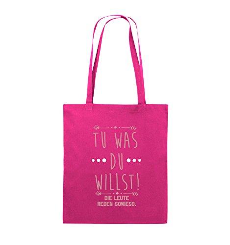 Comedy Bags - Tu was du willst! Die Leute reden sowieso. - Jutebeutel - lange Henkel - 38x42cm - Farbe: Schwarz / Weiss-Neongrün Pink / Rosa-Weiss