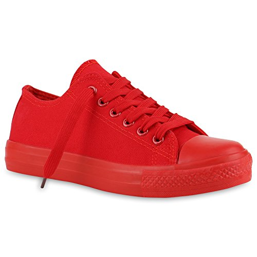 Damen Sneakers Stoffschuhe Sportschuhe Freizeit Schnürer Rot