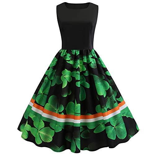 IZHH St. Patrick's Day Kleider ÄRmellos LäSsige Kleeblatt Mit Herz GrüN Klee Print Abendgesellschaft Prom Swing Dress Mode Damen Kleid(Grün-3,X-Large)