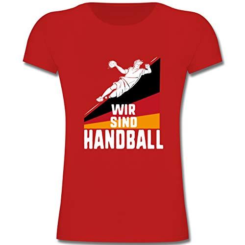 Handball WM 2019 Kinder - Wir sind Handball! Deutschland - 164 (14-15 Jahre) - Rot - F131K - Mädchen Kinder T-Shirt