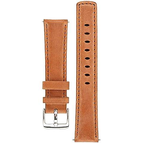 Signature Traveller correa de reloj. Banda de reepmlazo para reloj. Cuero genuino. Hebilla de acero. (Madera, 24 mm - extra