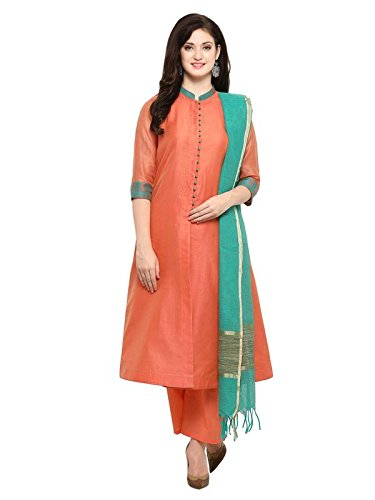 Inddus Peach Solid Chanderi Cotton Woven Stylised Salwar Suit With Dupatta (fully...