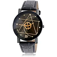 Bling Jewelry in acciaio inossidabile pelle geometrica Mens Orologi vestito