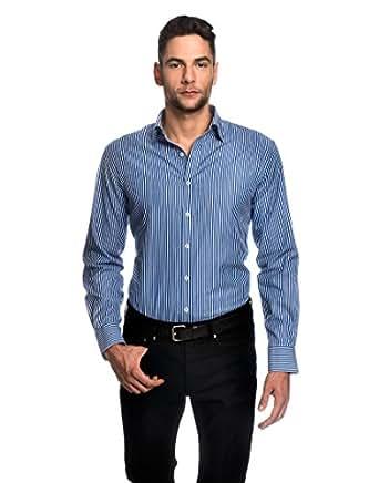 Embraer Camicia Uomo Eleganti, Taglio Aderente/Slim-Fit, Collo Classico, Manica Lunga, a Righe - Facile da Stirare Blu 37/38