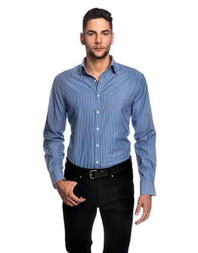 Embraer camicia uomo eleganti, taglio aderente/slim-fit, collo classico, manica lunga, a righe - facile da stirare blu 39/40