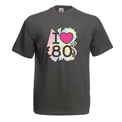 Liebe 80er Konzert t-Shirts Weinlese Kleidungs Musik t-Shirts Geschenke (XXX-Large Graphit Mehrfarben) (80er-jahre-themen-kleidung)