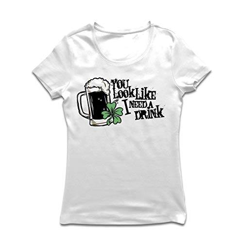 lepni.me Frauen T-Shirt Du siehst aus, als ob ich einen Drink Brauche, die Sprüche von St. Patrick's Day (Small Weiß Mehrfarben) -