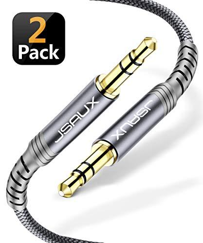 JSAUX Aux Kabel 3.5mm Audio Kabel - [1,2m, 2PCS] Nylon Klinkenkabel für Kopfhörer, Samsung Galaxy S10 S9 S8, iPhone iPod iPad, Echo dot, Heim/KFZ Stereoanlagen, Smartphones, MP3 Player und mehr - Grau