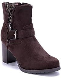 d581b9caa75b99 Schuhtempel24 angesagte Damen-Schuhe Stiefeletten mit Blockabsatz in  unterschiedlichen Variationen I Kurzschaft-Stiefel Boots…