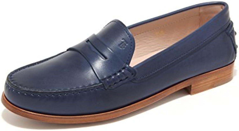 7835L mocassini blu donna TOD'S cuoio scarpe loafers shoes women