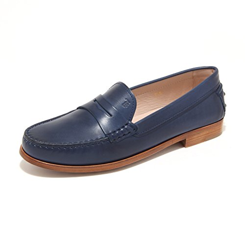 7835L mocassini blu donna TOD'S cuoio scarpe loafers shoes women Blu