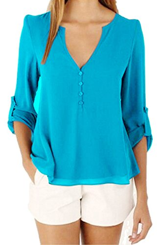 OMZIN Tunika Shirt, Womens Relax Fit nette attraktive Tops und Blusen Sky Blue XS (Top Neckholder Blue Sky)