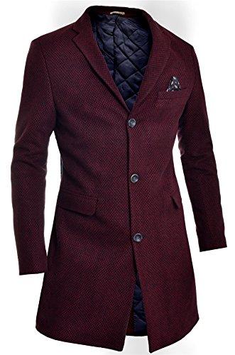 Herren Wintermantel 3/4 lang Jacke Paisley Rot Tweed Kaschmir Drei Knöpfe Befestigung (3-knopf-herringbone-jacke)