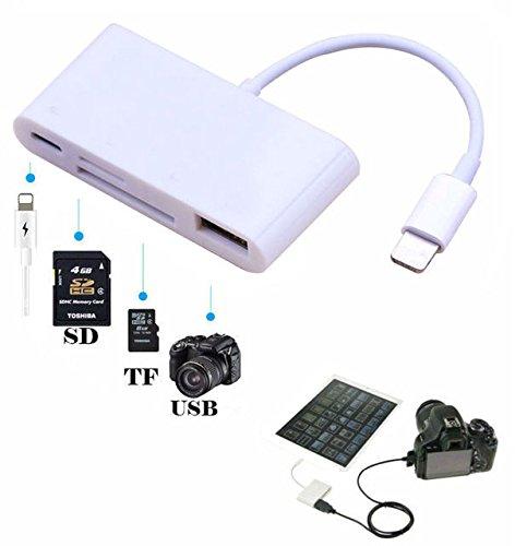 Hangang Card Reader 4 in 1 USB Kameraverbindung SD TF Speicherkartenleser USB Kartenleser USB 2.0 Card Reader Kartenlesegerät (CS04052) (Cf-card Reader Für Ipad)