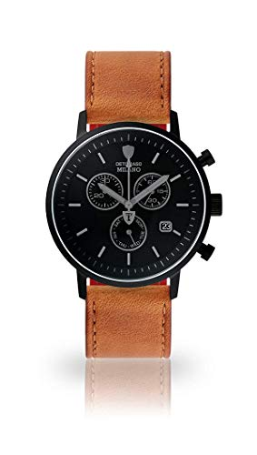 DETOMASO Milano Mens Watch Chronograph Analogue Quartz Brown Leather Strap Black dial DT1052-P-821