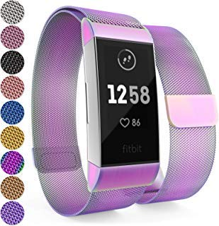 Yousave Accessories® Fitbit Charge 3 Armband, Milanaise Armband, Edelstahl Sport Ersatzarmband für Fitbit Charge 3 Fitness Tracker, Fitbit Charge3 Armbänder - Mehrfarben
