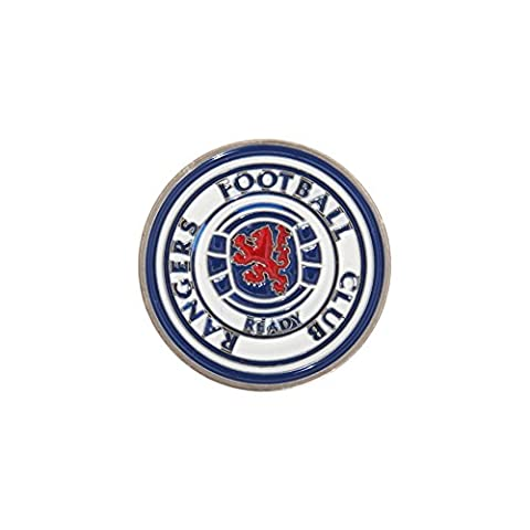 Rangers FC Official Football Crest Golf Ball Marker (One Size) (Silver/Blue/Red)