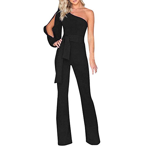 Holywin Women Solid Long Sleeve Slim Cold Shoulder High Waist Casual Clubwear Wide Leg Pants Jumpsuit Playsuit