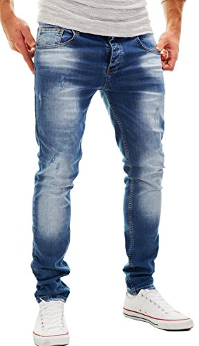 Merish Jeans Herren Slim-Fit Stone-Washed Soft Bleached Used-Look Neu Modell J2100 Blau 32/32