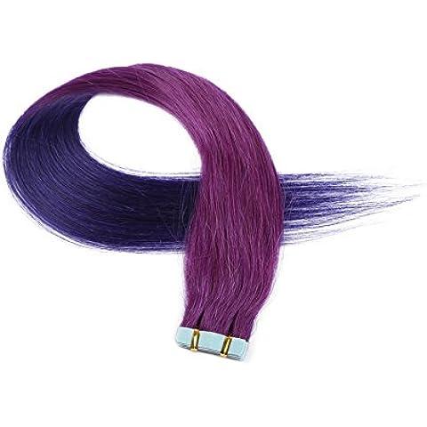imstyle 10piezas cinta en extensiones de pelo real Cabello humano T Color Dos Tonos color morado mezclado 100% cabello humano