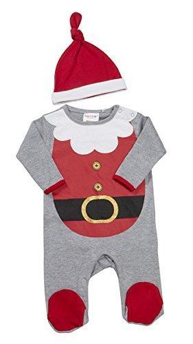 Baby Neuheit Xmas Elfe Rentier Santa Schlafanzug Strampler & Hut größen von Neugeborene bis 9 Monate, Grey Santa, (Elfen Kostüme Neugeborenen)