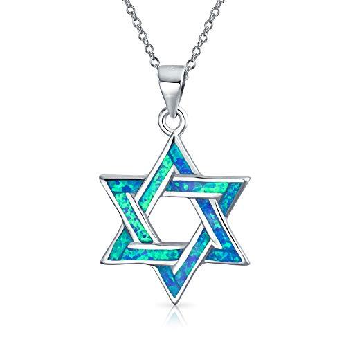 Chanukka David Stern Magen Jüdischen Blau Opal Inlay Kette Mit Anhänger Für Damen 925 Sterling Silber 16 Zoll Erstellt