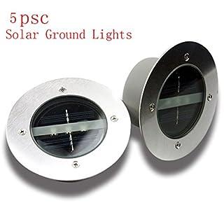 RDJM Lumières Au Sol Solaires, Lumières Souterraines Extérieures De Voie De Jardin Avec 3 LED (Lumière Blanche, Lumière Jaune),Whitelight