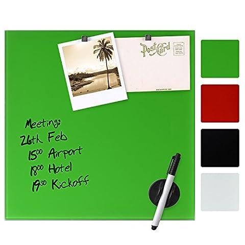 Artina Memoboard aus Glas Magnet- und Schreib-Tafel - 60x80 cm - inklusive Stift, Magneten und Schwamm - Grün