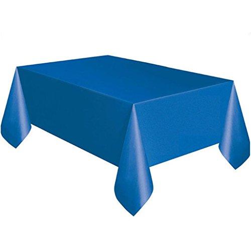 Prevently Tischdecke Tischtuchrolle Tischtuch Tischwäsche Große Kunststoff Rechteck Tischabdeckung Tuch abwischen Party Tischdeckenbezüge Einfarbige Geburtstag Tischdecken Platz Einweg-Tischdecken stoffähnliches - Blau Tischdecke Rechteck