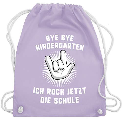 Einschulung und Schulanfang - Bye Bye Kindergarten Ich rock jetzt die Schule Hand - Unisize - Pastell Lila - WM110 - Turnbeutel & Gym Bag