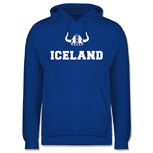 Länder - Iceland + Wikingerhelm - Männer Premium Kapuzenpullover / Hoodie Royalblau