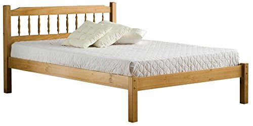 Happy Beds Santos Wooden Bed Quality Double Bolted Antique Pine Finished with Orthopaedic Mattress 4' Small Double 120 x 190 cm