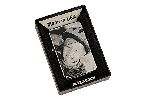 Original Zippo Feuerzeug mit EINSEITIGER Wunsch Gravur | Zippo graviert mit Deinem Foto und Text | chrome hochglanz poliert | personalisiert + individuell