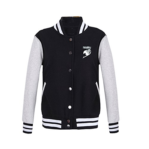 Fuman Fairy Tail Jacke Anime Coat Hooded Sweatshirt Kapuzenjacke Cosplay Kostüm Schwarz (Kostüm Tail Cosplay Fairy)