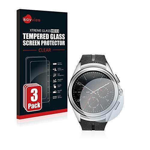 Savvies Panzerglas kompatibel mit LG Watch Urbane 2nd Edition [3er Pack] - Echtglas Schutzfolie 9H