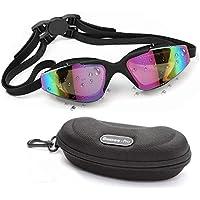 Gafas de Natación - Unisex Gafas para Nadar - Protección UV Impermeable Gafas Piscina con Ajustable Correa Doble y Estuche Protector para Adulto Hombres Mujeres y Niños 10 años+